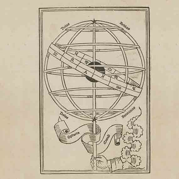 """Stumbled upon some woodcut prints from the 1400's Sphaera mundi - 1482  astronomical science opusculum (Sphere of the World) (astronomical science work) It also noted """"The hand of God turning the sphere of the earth."""" #woodcutprinting #oldillustrations #astronomy"""