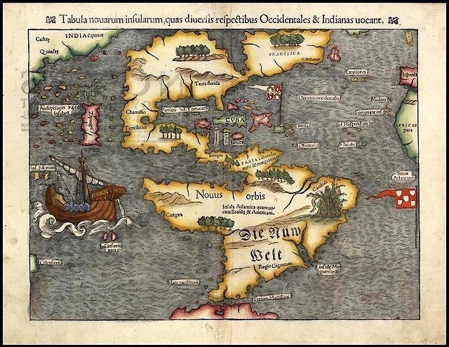 Check out this map by Sebastian Münster from 1550. They say it's the first map of the Americas shown completely separated from Asia. Brazil is portrayed as the land of cannibals. Argentina as the land of giants, and japan is called Zipangri.  Source: reddit.com #america