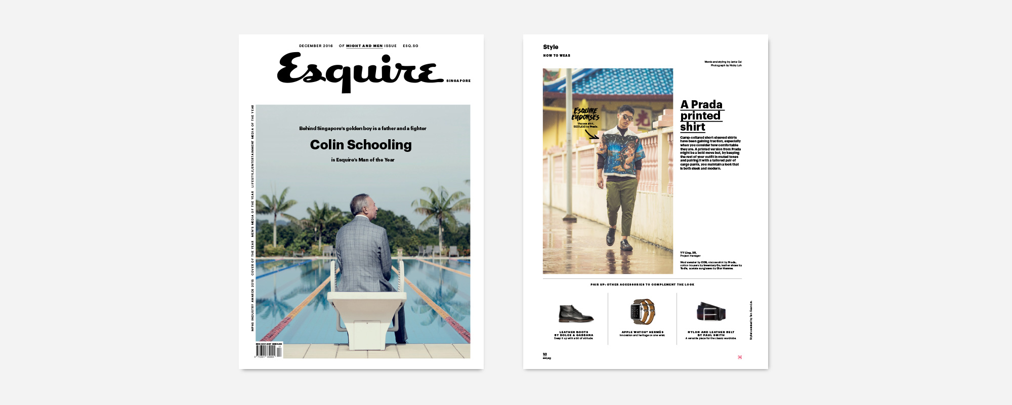PRESS FEATURE: Esquire Singapore, December 2016   Item Featured: Cotton Gurkha Trousers (Page 32)  Special thanks to Janie Cai, Tan Guan Lin, Nicky Loh