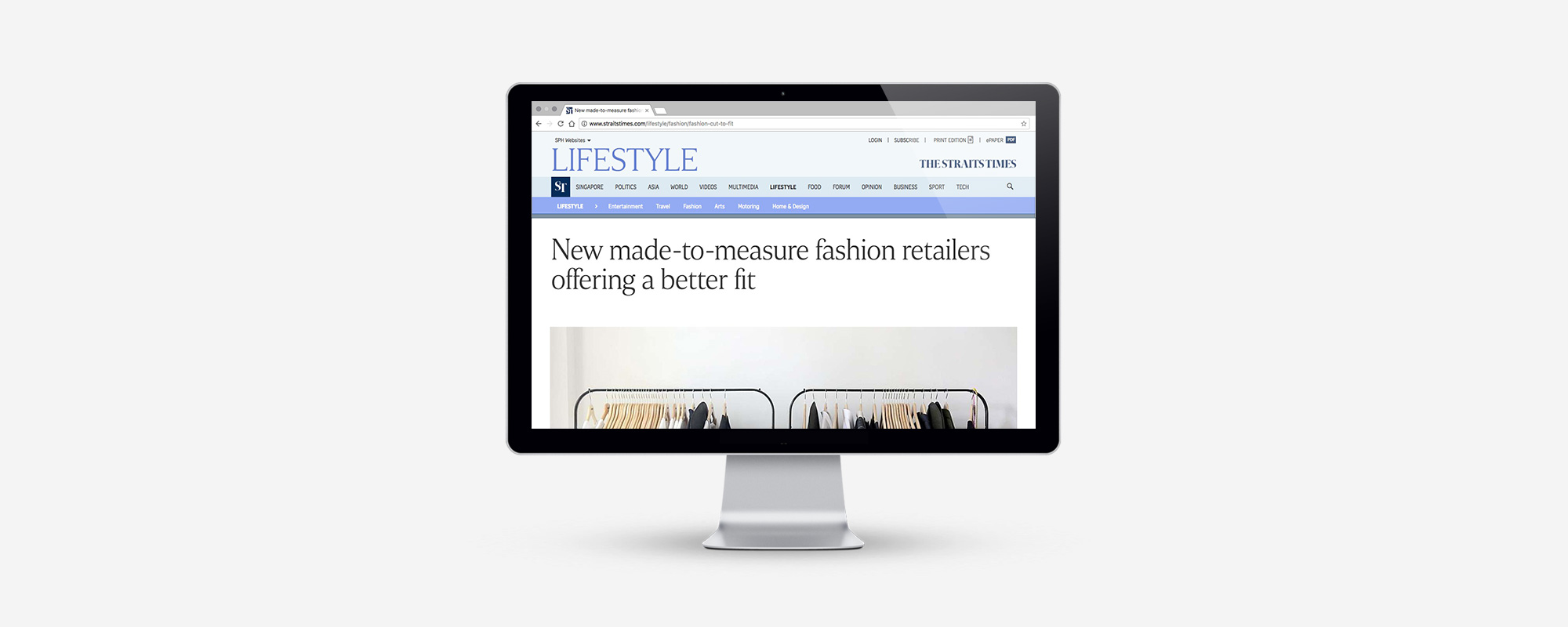 "PRESS FEATURE: STRAITS TIMES, LIFE, 27 APRIL 2017 THURSDAY    "" Made-to-Measure label Inventory, which has a studio in Club Street, specialises in functional workwear for men and women. Shoppers who cannot find clothes that fit well from mass-market brands can now turn to local labels which offer made-to-measure services""  –   Alyssa Woo, Journalist     Images by Azmi Athni"