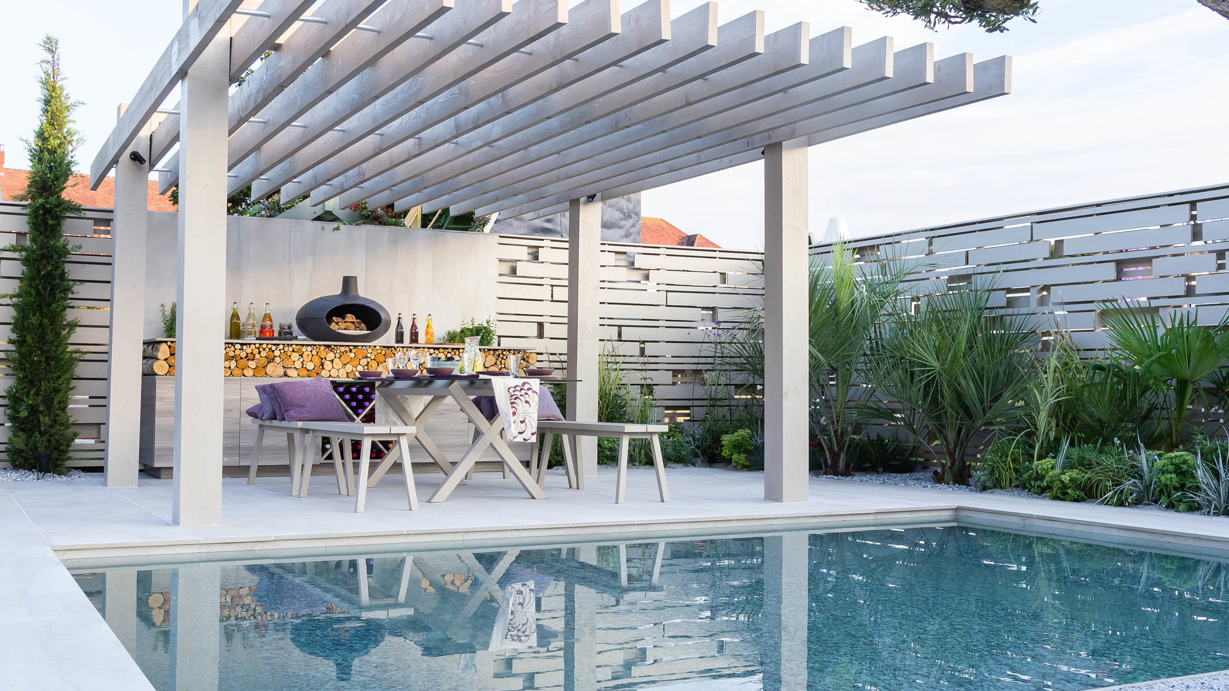 Southport Garden Design: A View Of The Olive Tree: Pergola Over Seating Area And Outdoor Kitchen