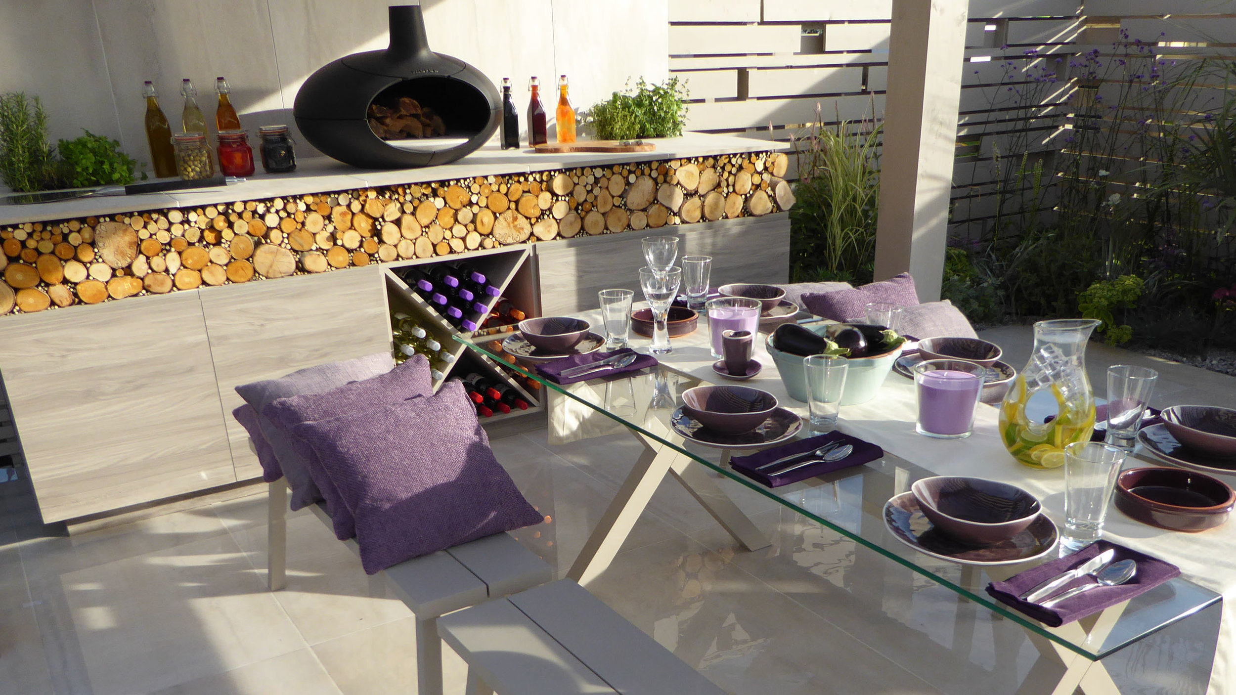Southport Garden Design: A View Of The Olive Tree: Outdoor Kitchen, Morso Oven and Seating Area