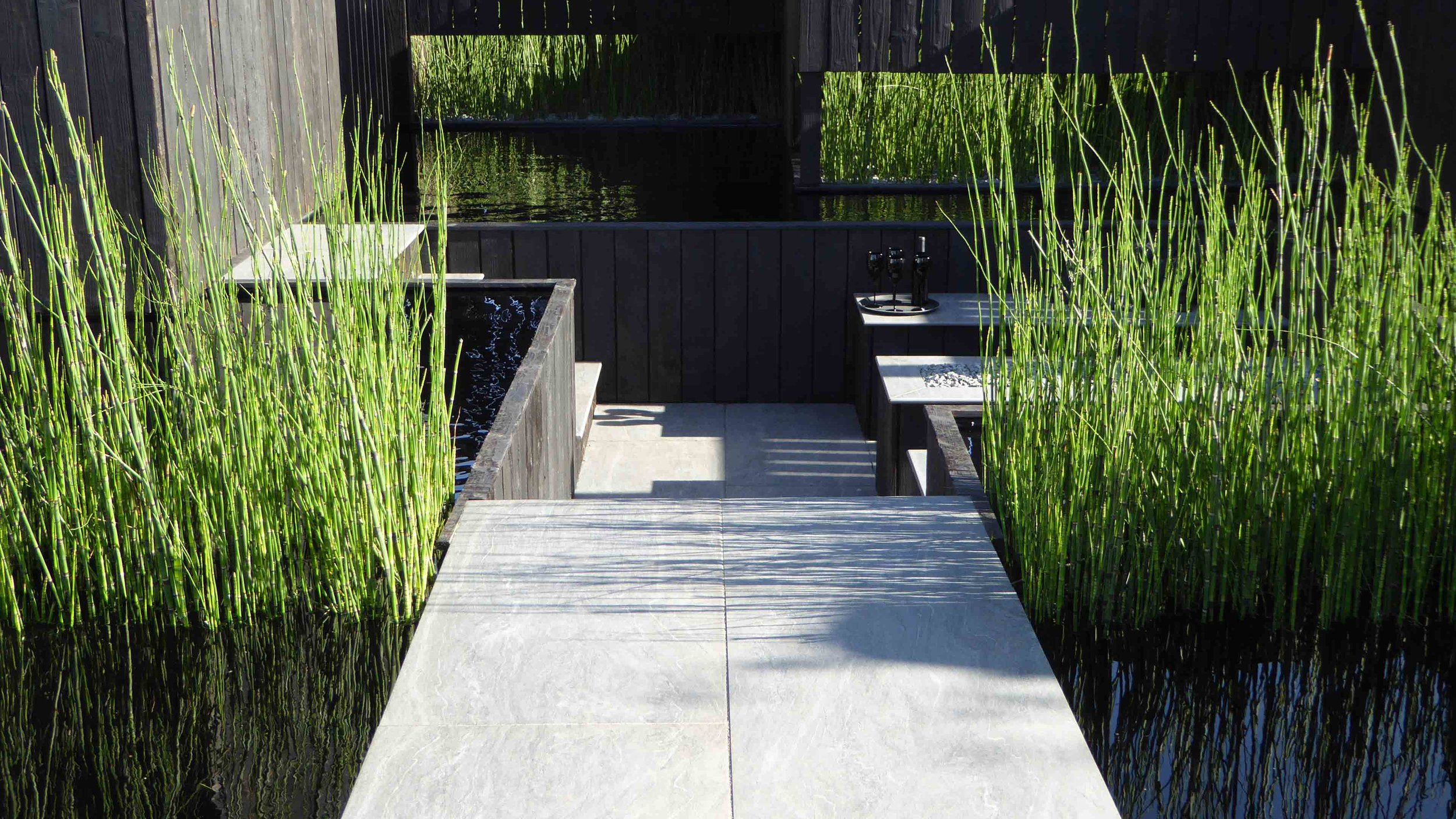 Southport Garden Design: Kuro: Porcelain Path And Sunken Seating Area