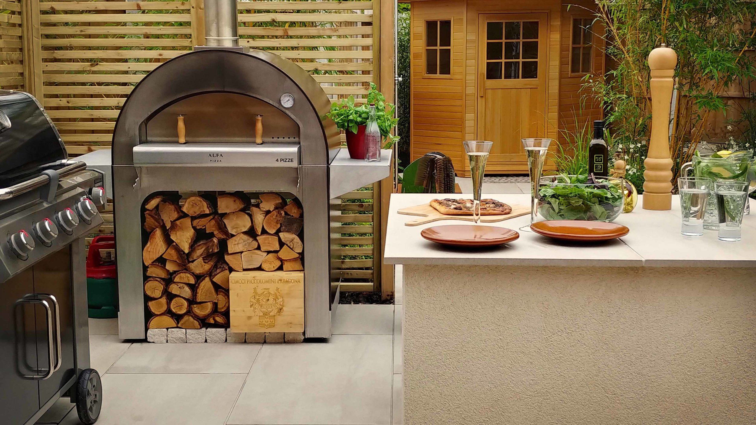 Garden Design Cheshire: Prairie Planting And Porcelain Patio: BBQ, Wood Fired Pizza Oven, Outdoor Kitchen And Sauna