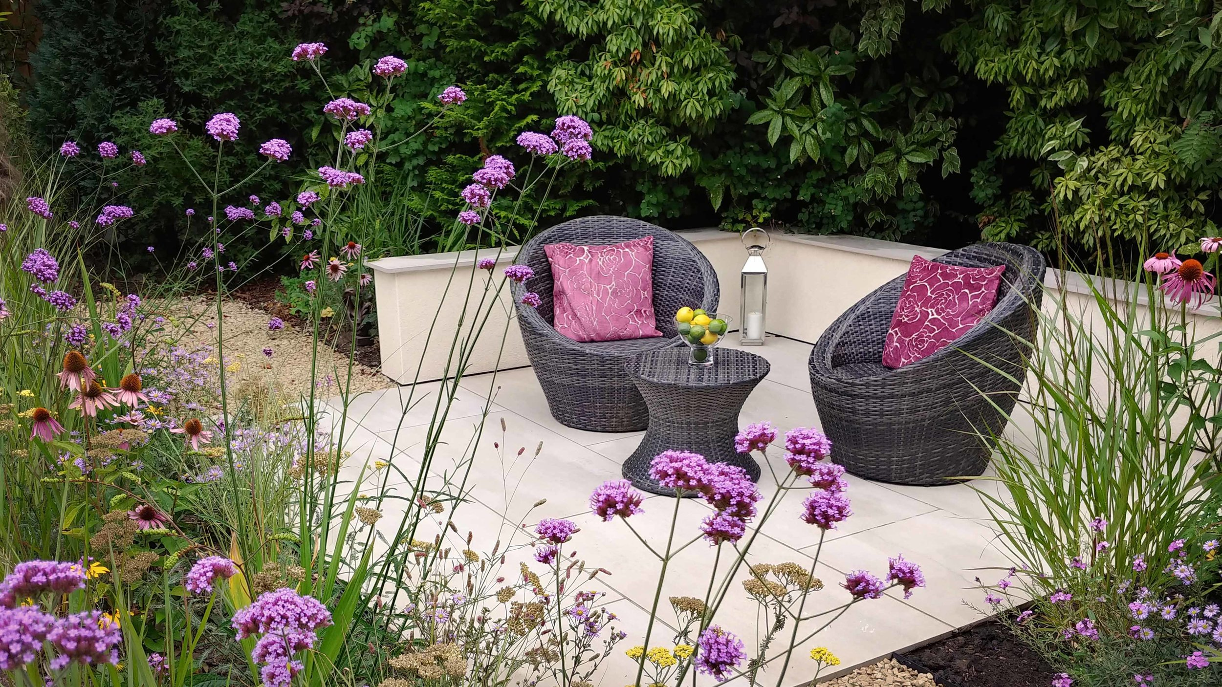 Garden Design Cheshire: Prairie Planting And Porcelain Patio: Seating Area