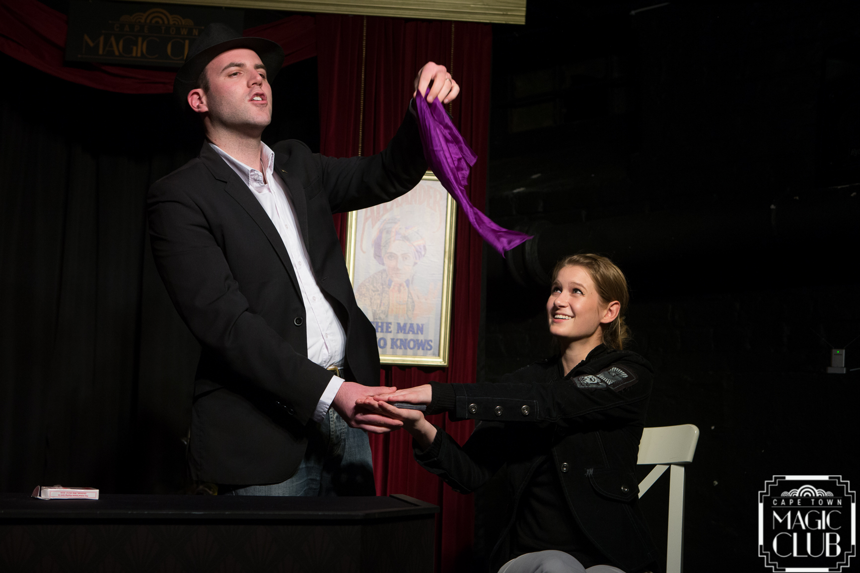 "Capetonian magician Greg Gelb [L] returns for a performance in Cape Town Magic Club's seventh ""Monday Night Magic"" season. [Photo credit: Andrew Gorman]"