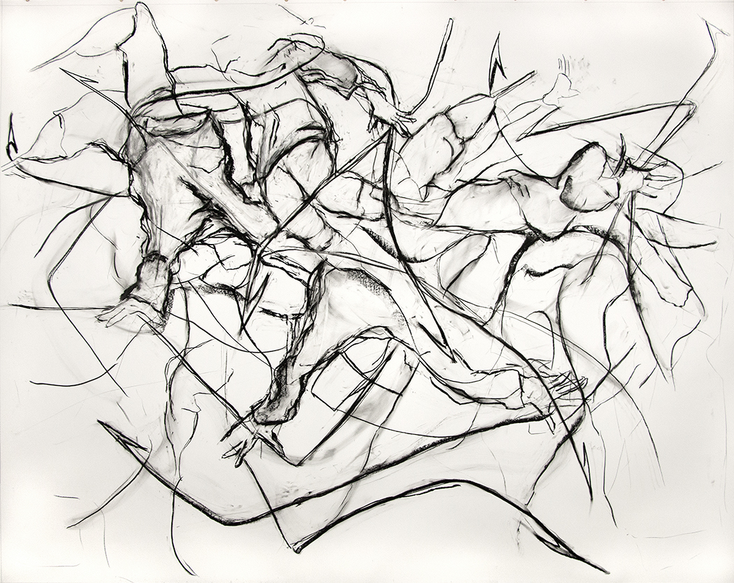 Harpooneers, 2015, Charcoal on paper, 96 x 120 in.