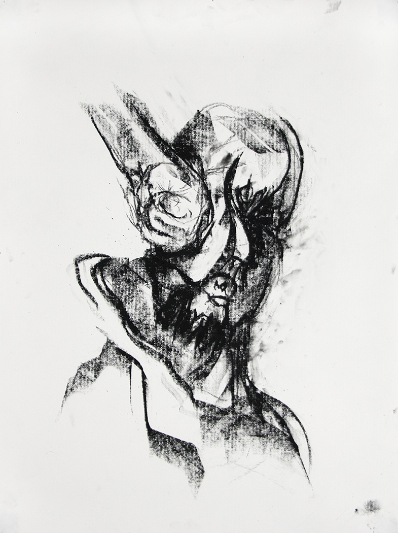 Punched Self-Portrait, 2015, Charcoal on paper, 24 x 18 in.