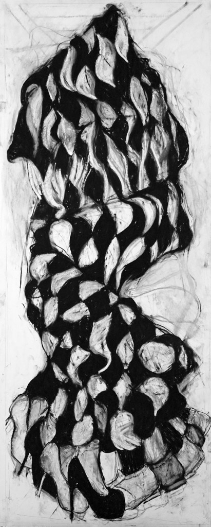 I Remember Her Leg, 2015, Charcoal on paper, 84 x 30 in.