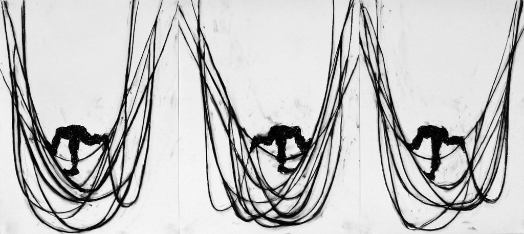 Untitled (triptych), 2015, Charcoal on paper, 24 x 18 in. each
