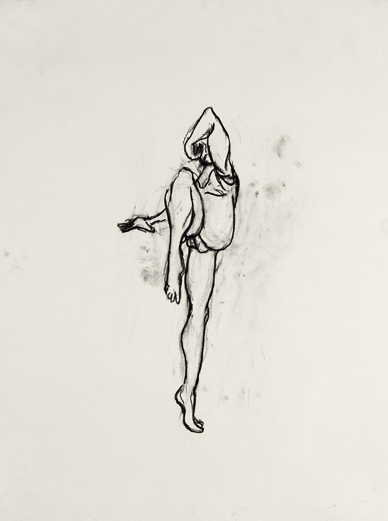 Audition, 2015, Charcoal on paper, 24 x 18 in.