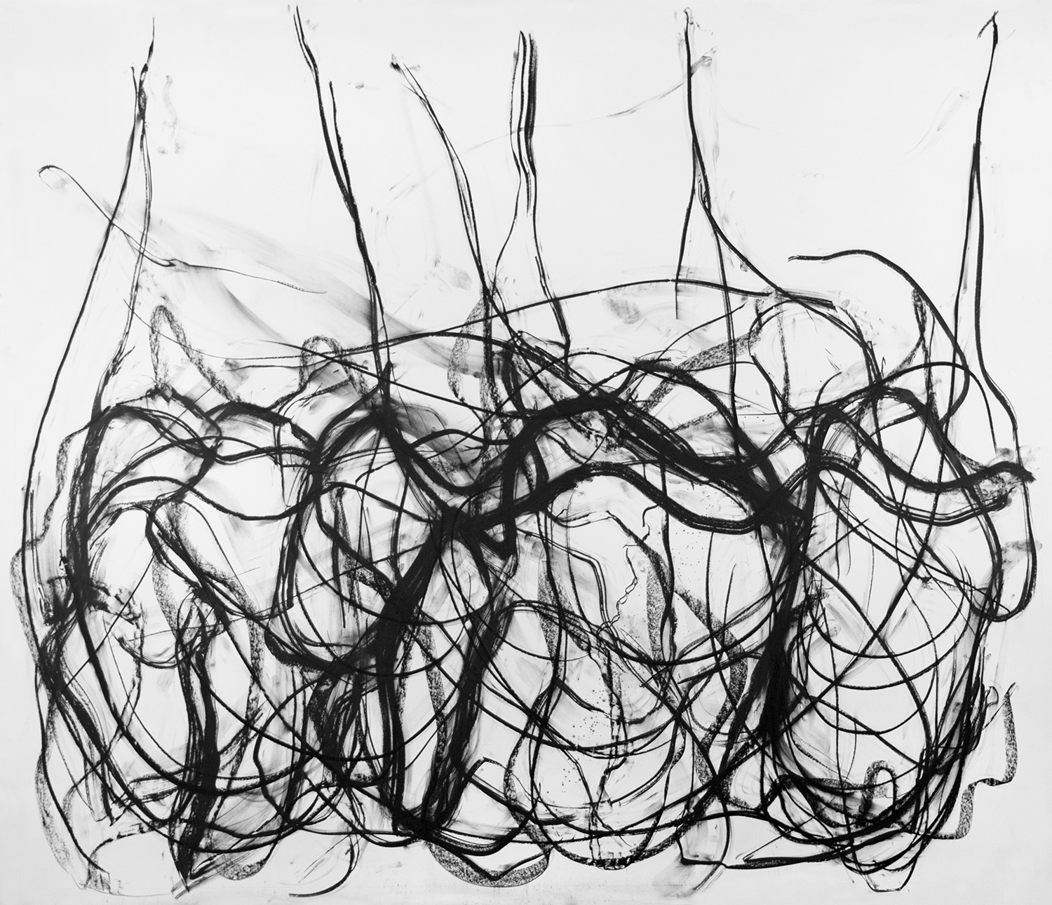 The Infanta Has Fallen Apart, 2016, Charcoal on paper, 96 x 120 in.
