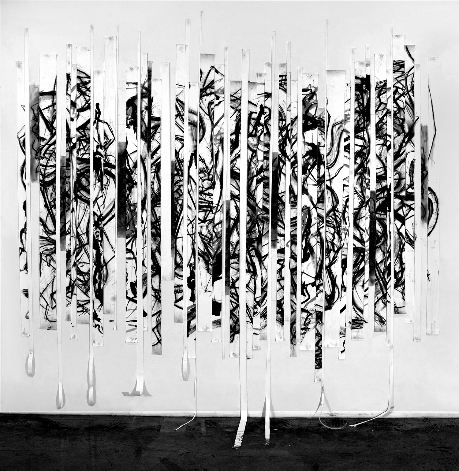 Sequence, 2016, Charcoal on paper, approx. 100 x 120 in.