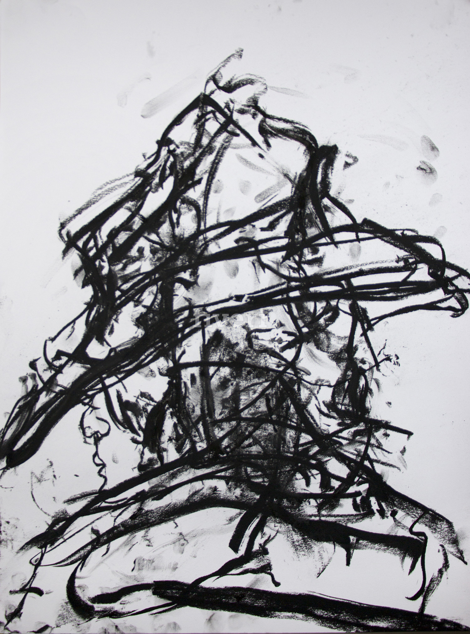 Untitled, 2016, Charcoal on paper, 24 x 18 in.