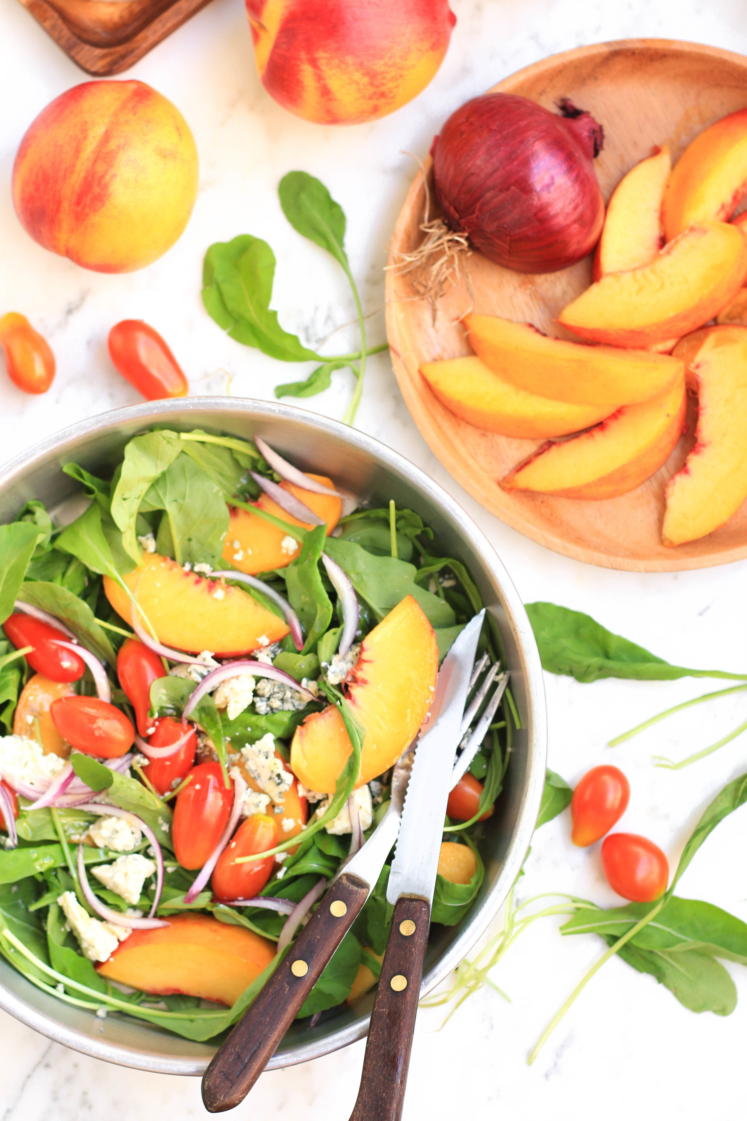 Peach, Arugula & Tomato Salad with Honey Olive Oil Dressing8.jpg