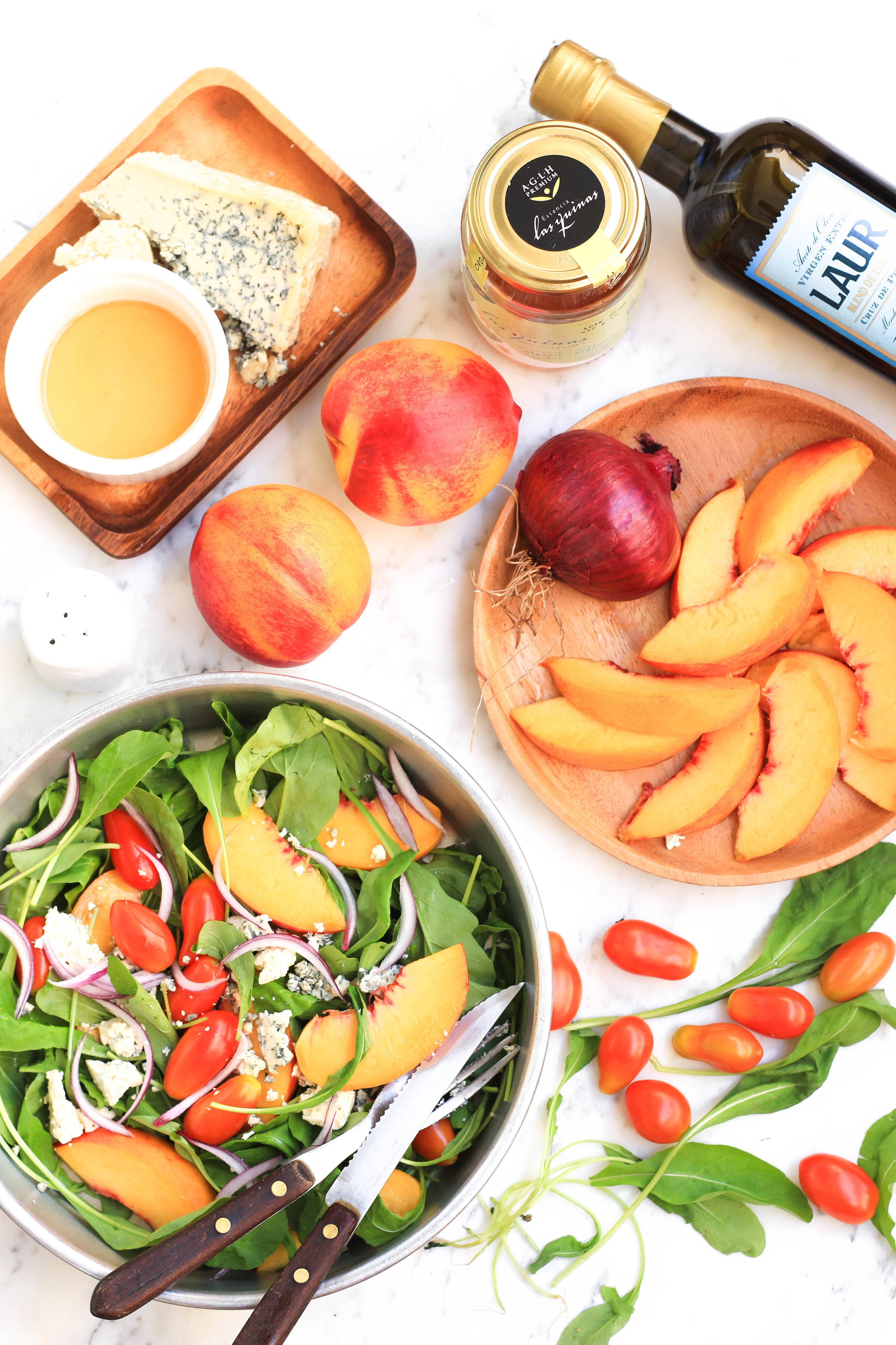 Peach, Arugula & Tomato Salad with Honey Olive Oil Dressing4.jpg