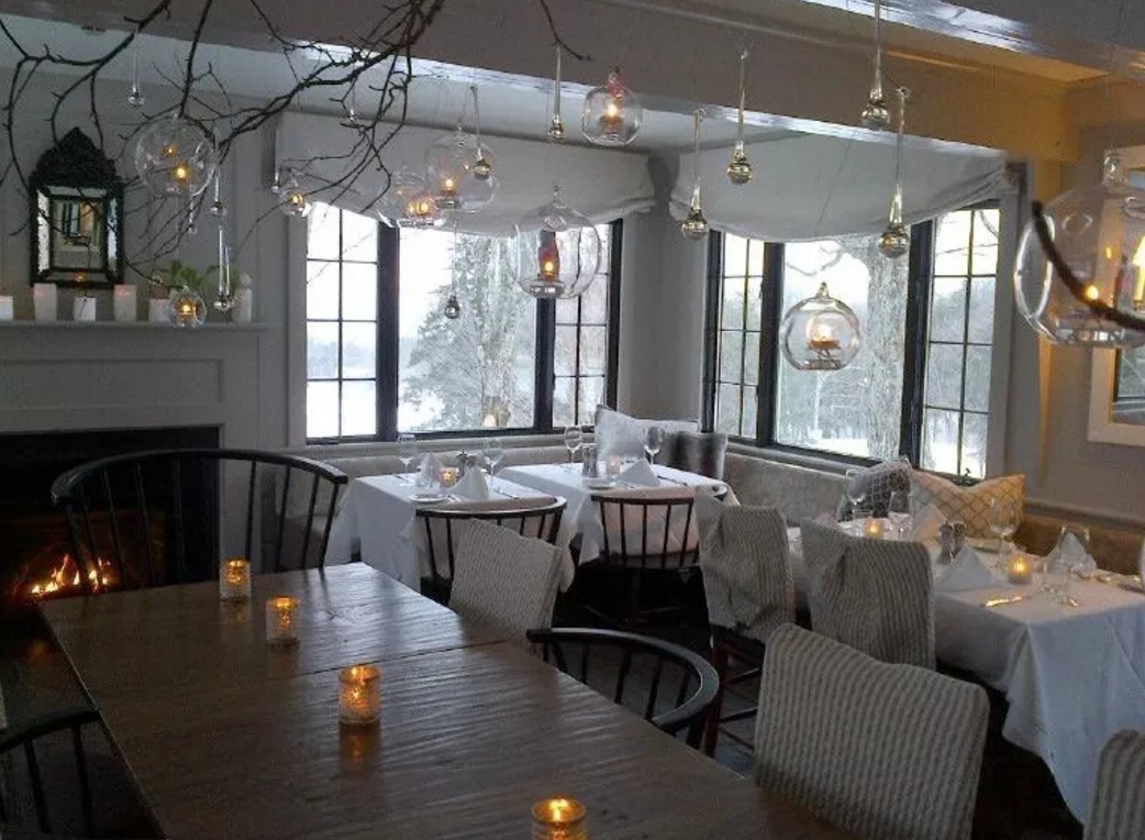 the dining room during the winter
