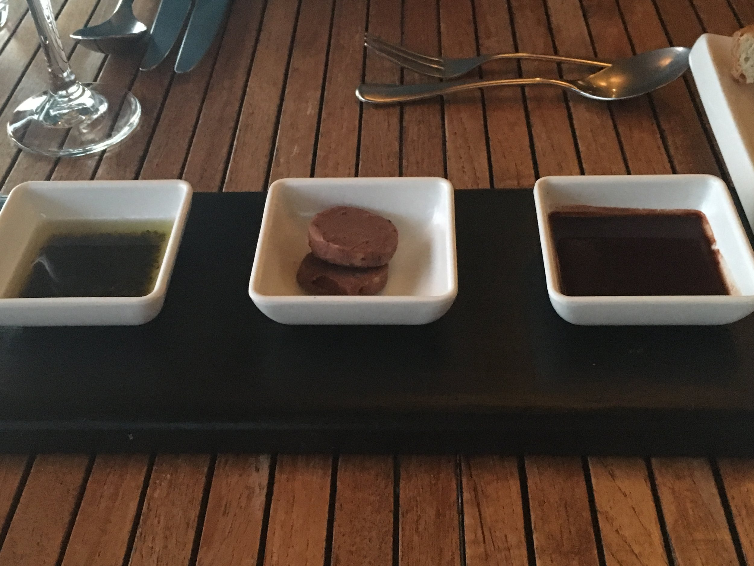 accompaniments for our bread: infused oil, chocolate butter, and ... chocolate
