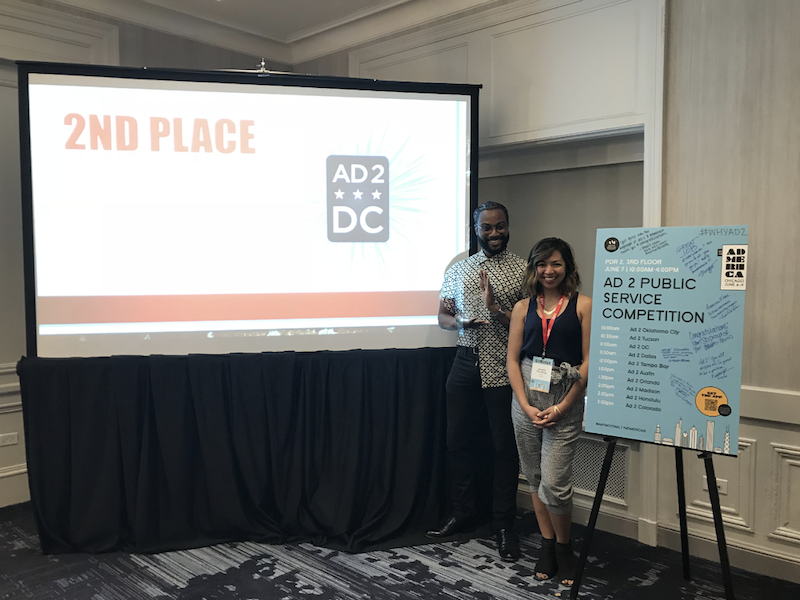 2017 – 2018 Ad 2 DC Public Service Co-Chairs Corey Lipsey and Jesselle Macatiag receiving 2nd place at the Ad 2 Public Service Competition.