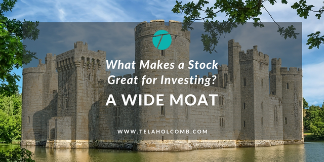 A wide moat is one of the characteristics you want to look for in a stock for long-term investing.