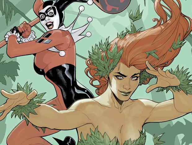 Poison Ivy and Harley Quinn from Harley Quinn, DC Bombshells - Poison Ivy and Harley Quinn are non-monogamous lovers when they are in the same city/Ivy isn't trying to take over the world with plants.