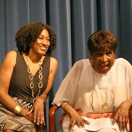 Bridgett M. Davis (L) with Louise Meriwether (R) at the Harlem Book Fair.