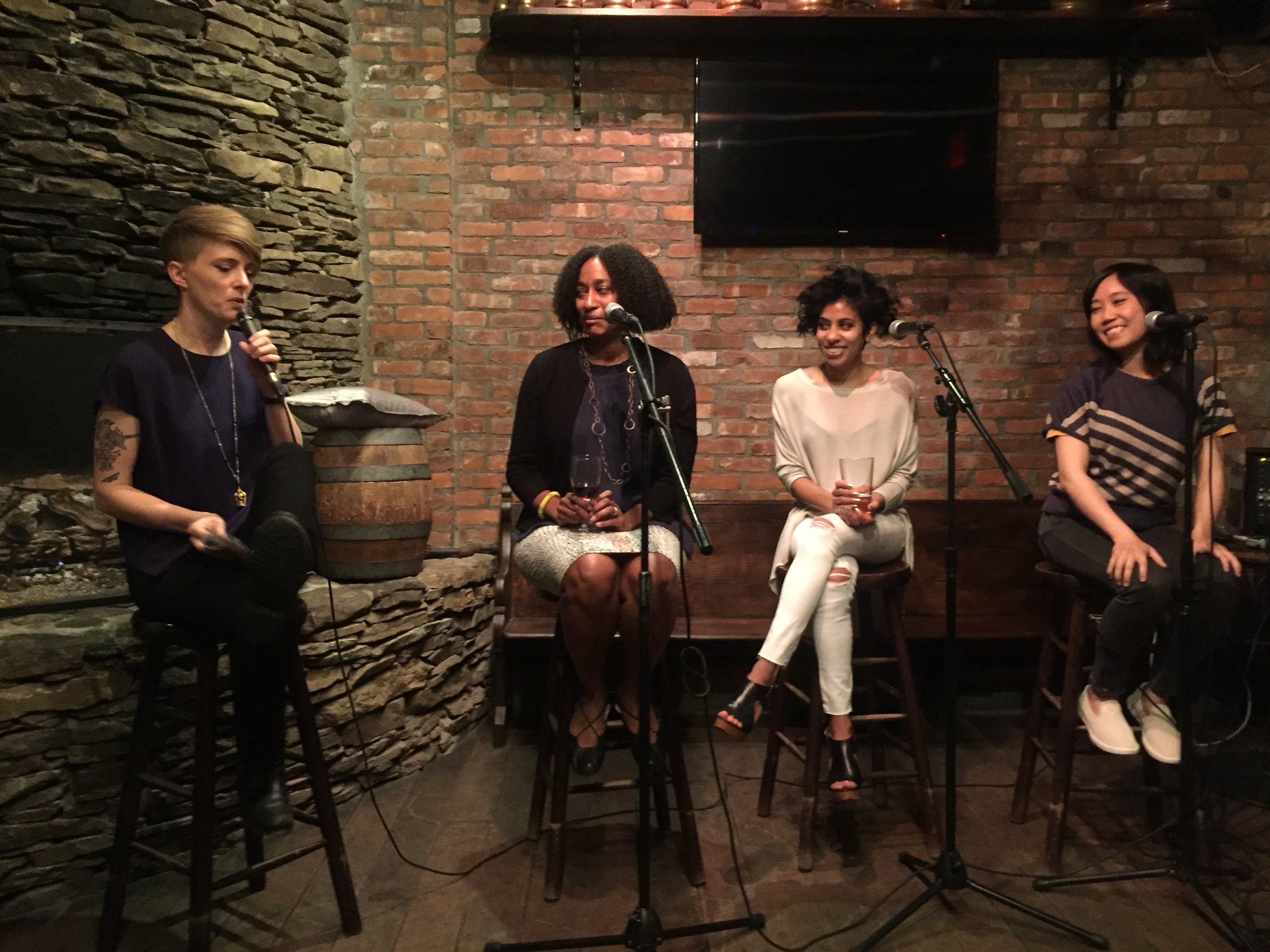 FP authors Bridgett Davis, Chaya Babu, and YZ Chin perform at the LIC Reading Series.