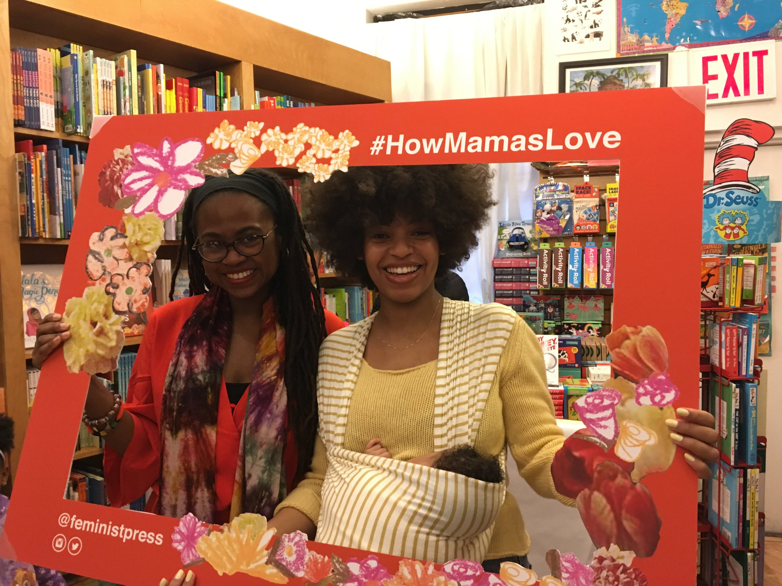 Jamia Wilson and  How Mamas Love Their Babies  illustrator Elise Peterson at Greenlight Bookstore.