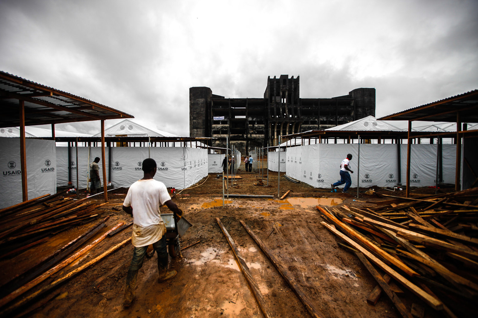 In September, this 300-bed Ebola treatment unit, funded by the U.S., was under construction in Monrovia, Liberia's capital.  John W. Poole/NPR