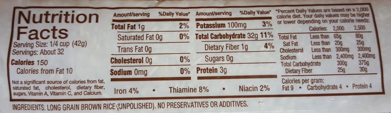 Nutrition Panel: Long Grain Brown Rice