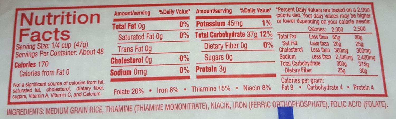 Nutrition Panel: Medium Grain White Rice