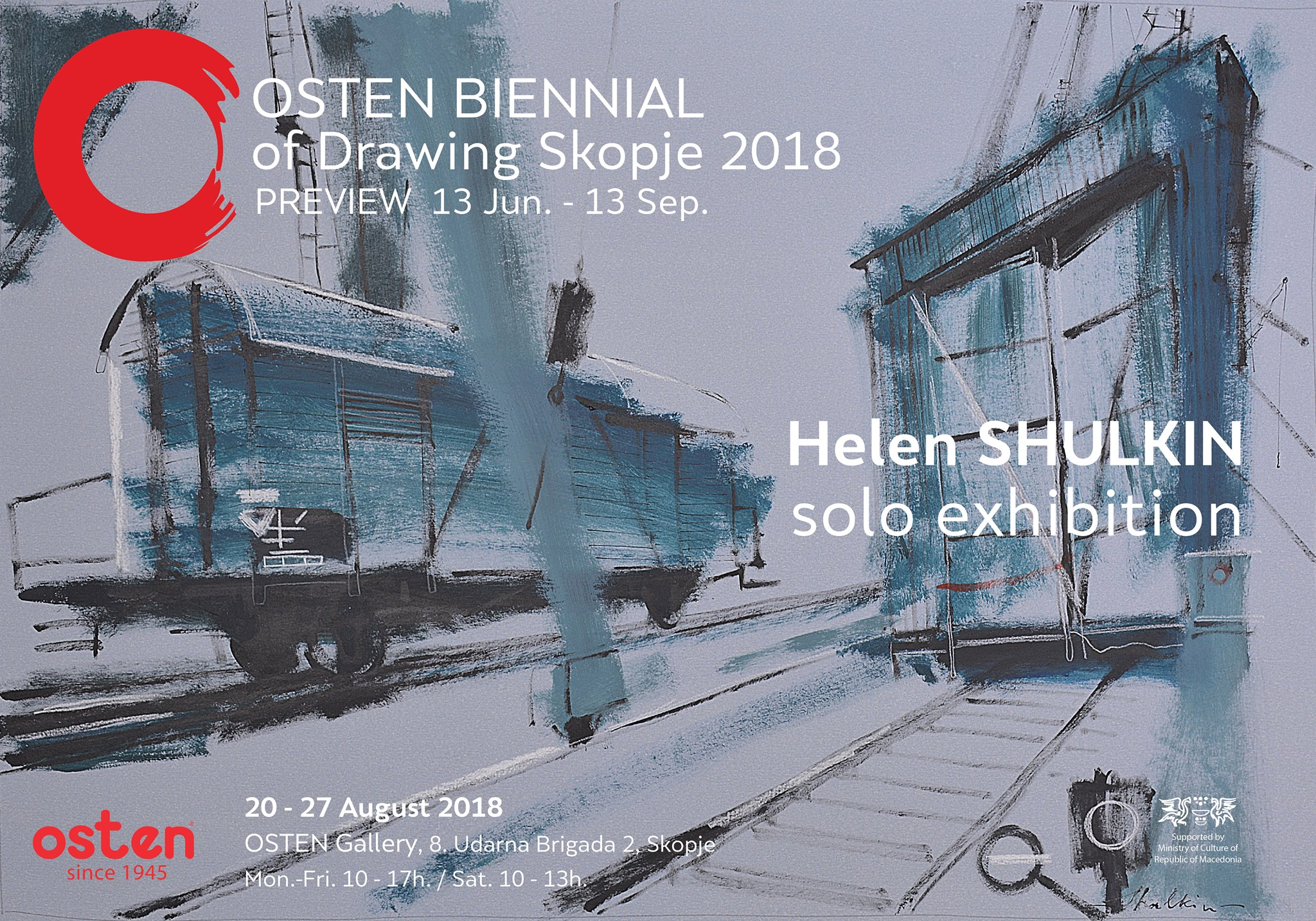 Exhited to announce that my works have been chosen for the Solo Exhibition in the frame of the OSTEN BIENNIAL of Drawing 2018 in Skopje!  20 - 27th August 2018  OSTEN Gallery  8 Udarna Brigada 2 Skopje, Macedonia