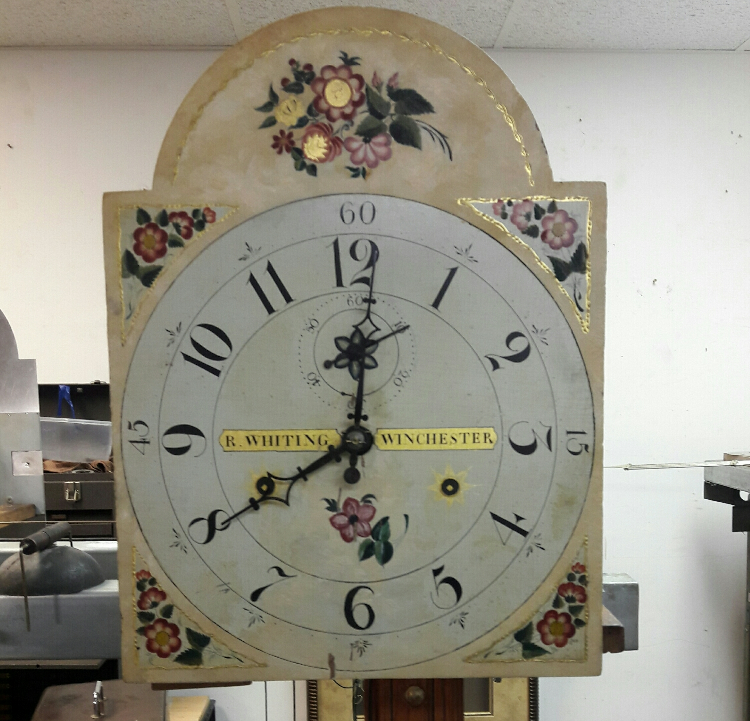 This clock runs like a charm . It's had a couple of hundred years of repairs done to it and keeps amazingly great time . It's driven by two small weights and a metal rod pendulum.