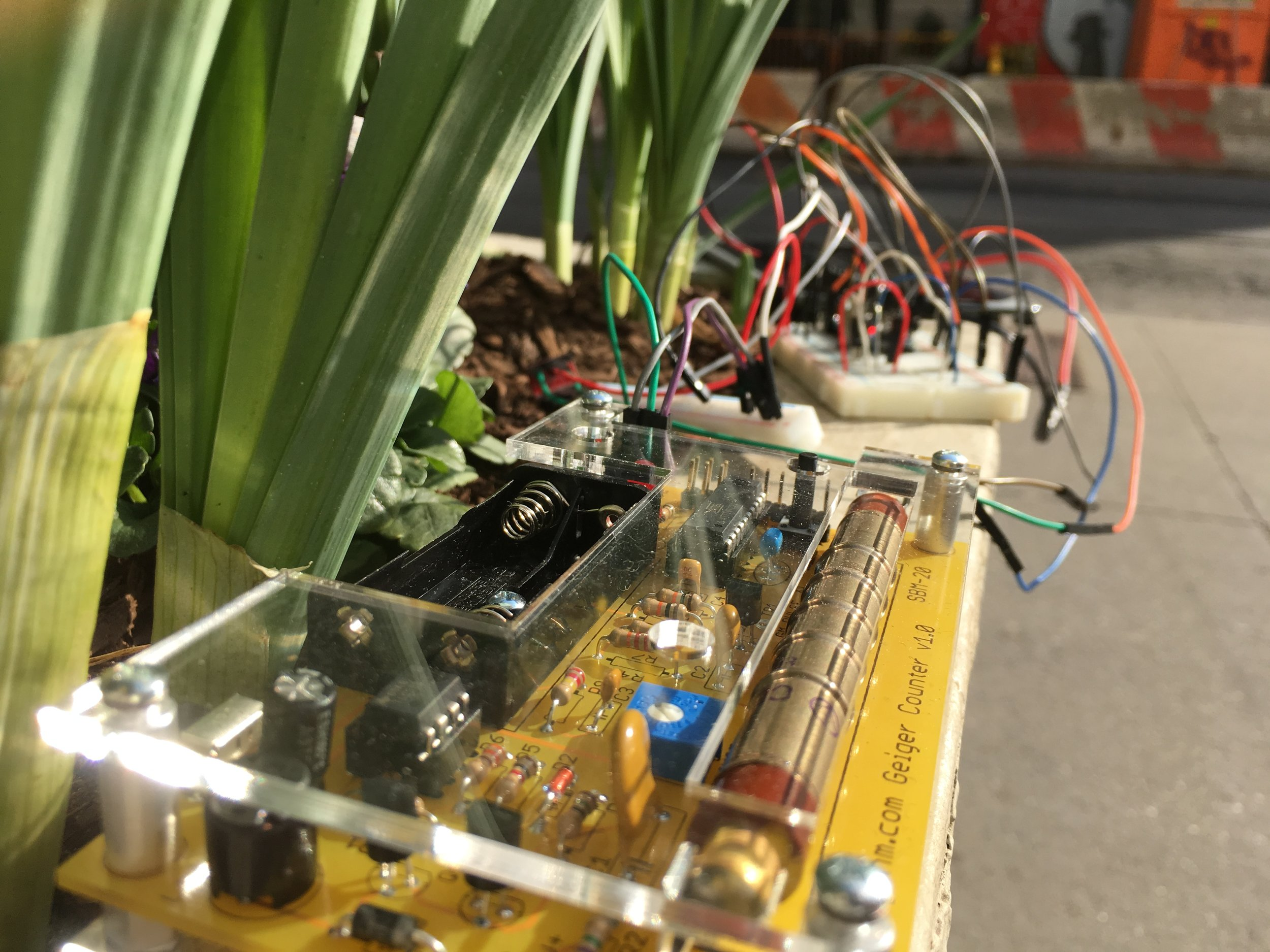 The  mightyohm-geiger kit  assembled and running on solar - a beauty!