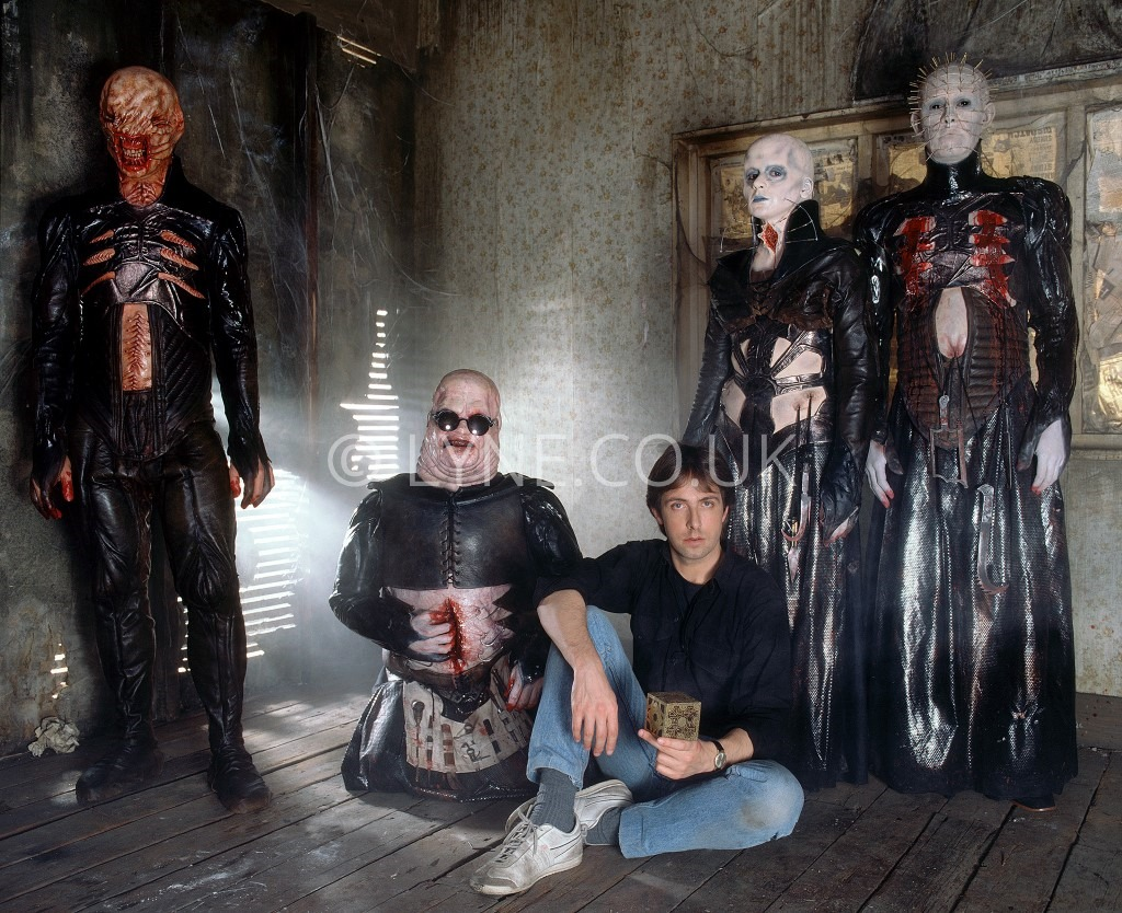 Clive Barker with Nicholas Vince, Simon Bamford, Grace Kirby and Doug Bradley on the set of Hellraiser, 13 November 1986, by Steve Lyne