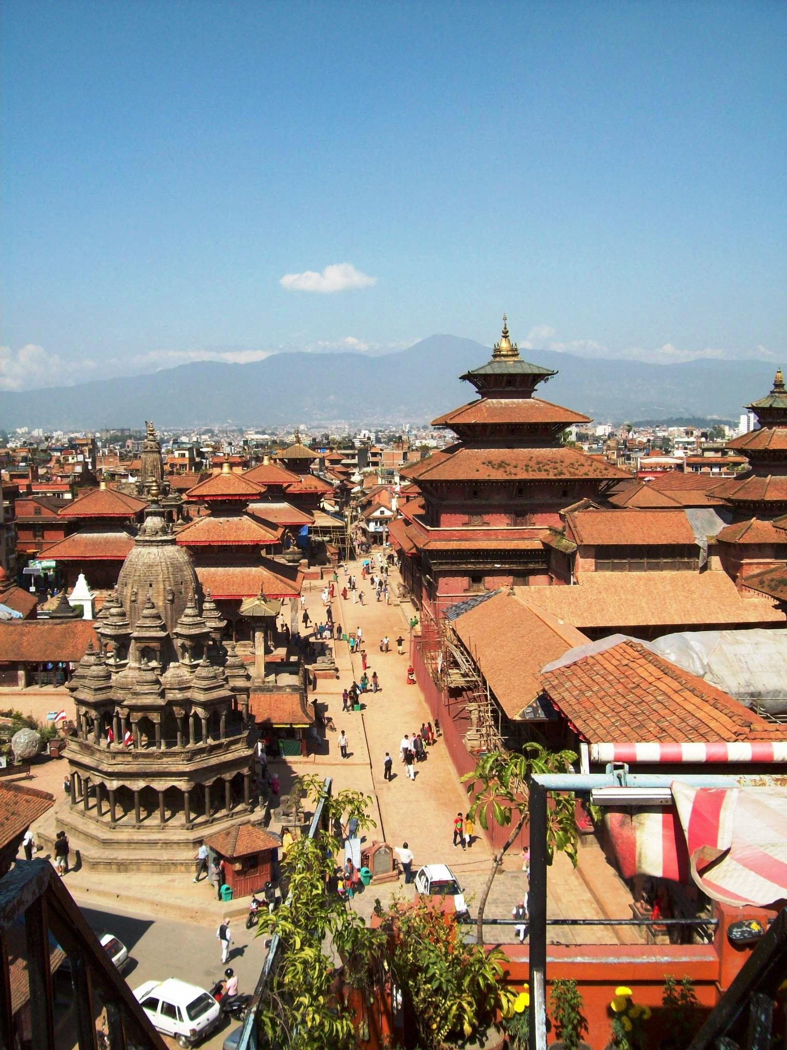 Patan Durbar Square afternoon with Himalayas