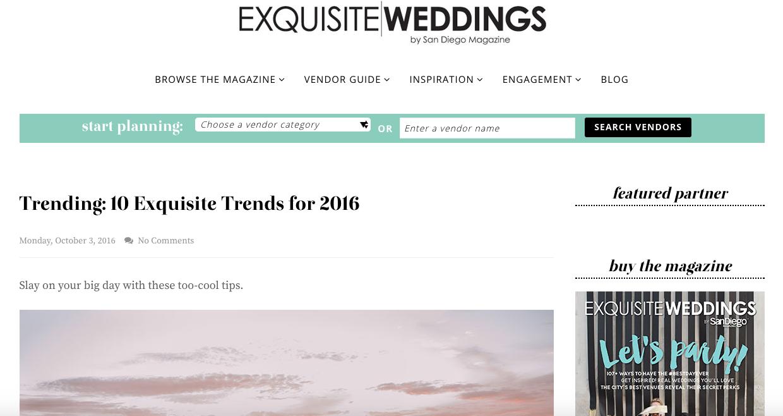 Exquisite Weddings Trends 2016