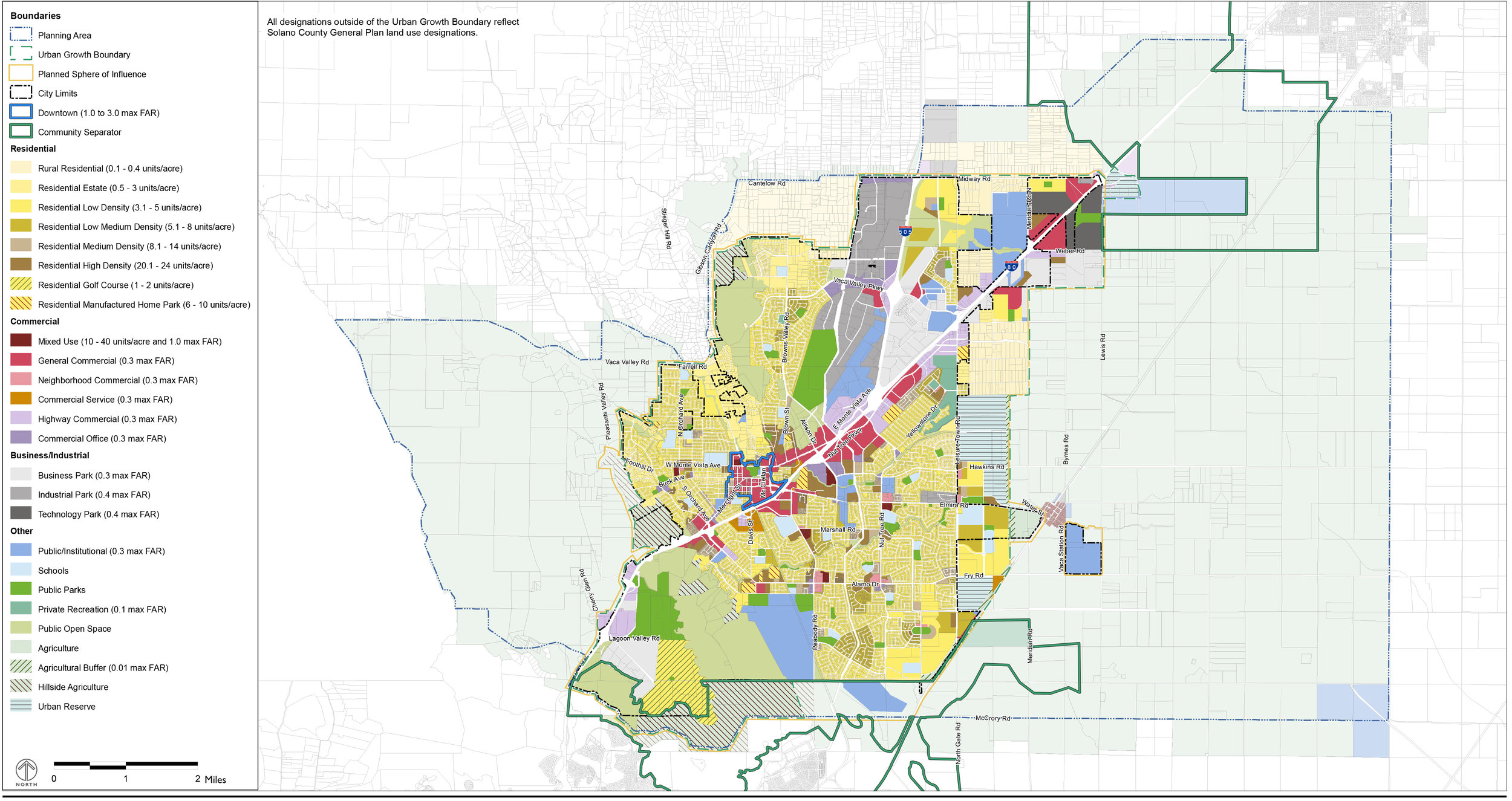 GENERAL PLAN LAND USE DESIGNATIONS | FIGURE LU-6 | City of Vacaville General Plan, Land Use Element, page 15.