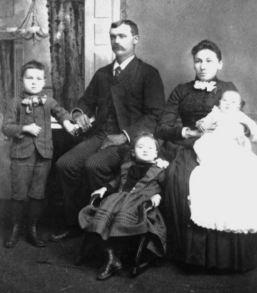 George Sharpe and Angeline Parker Sharpe with Millard, Maude and Esther (Mary Eldredge's grandmother).