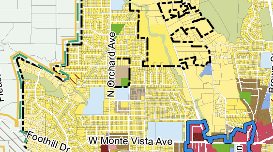GENERAL PLAN LAND USE MAP - zoom on surrounding neighborhoods. Note other areas with same density requirements - Residential Medium Density (tan color).