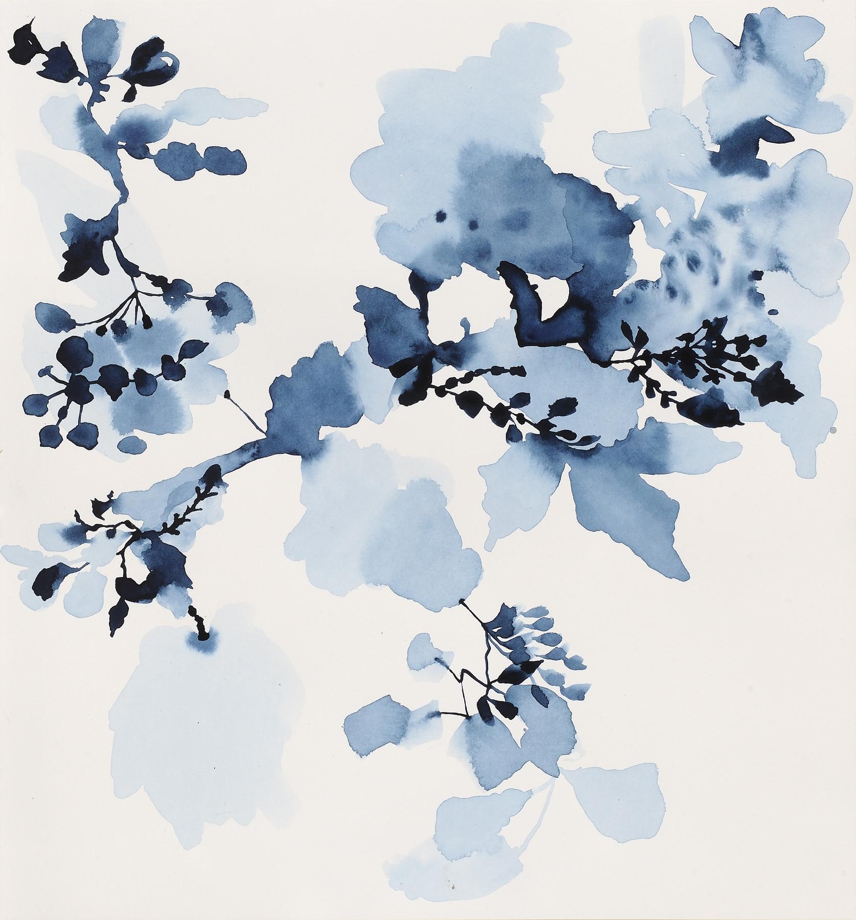 """Indigo Rock - 9, 2013, watercolor on paper, 15.25 x 16.5"""""""