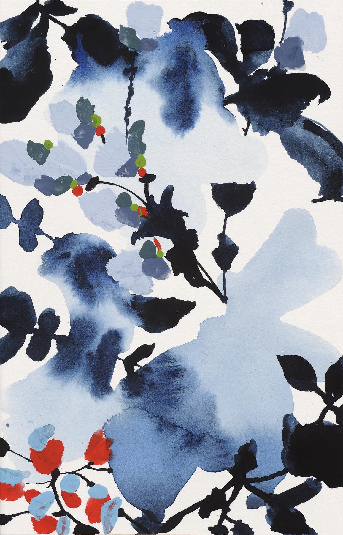 """Indigo Rock - 3, 2013, watercolor on paper, 7 x 4.5"""""""