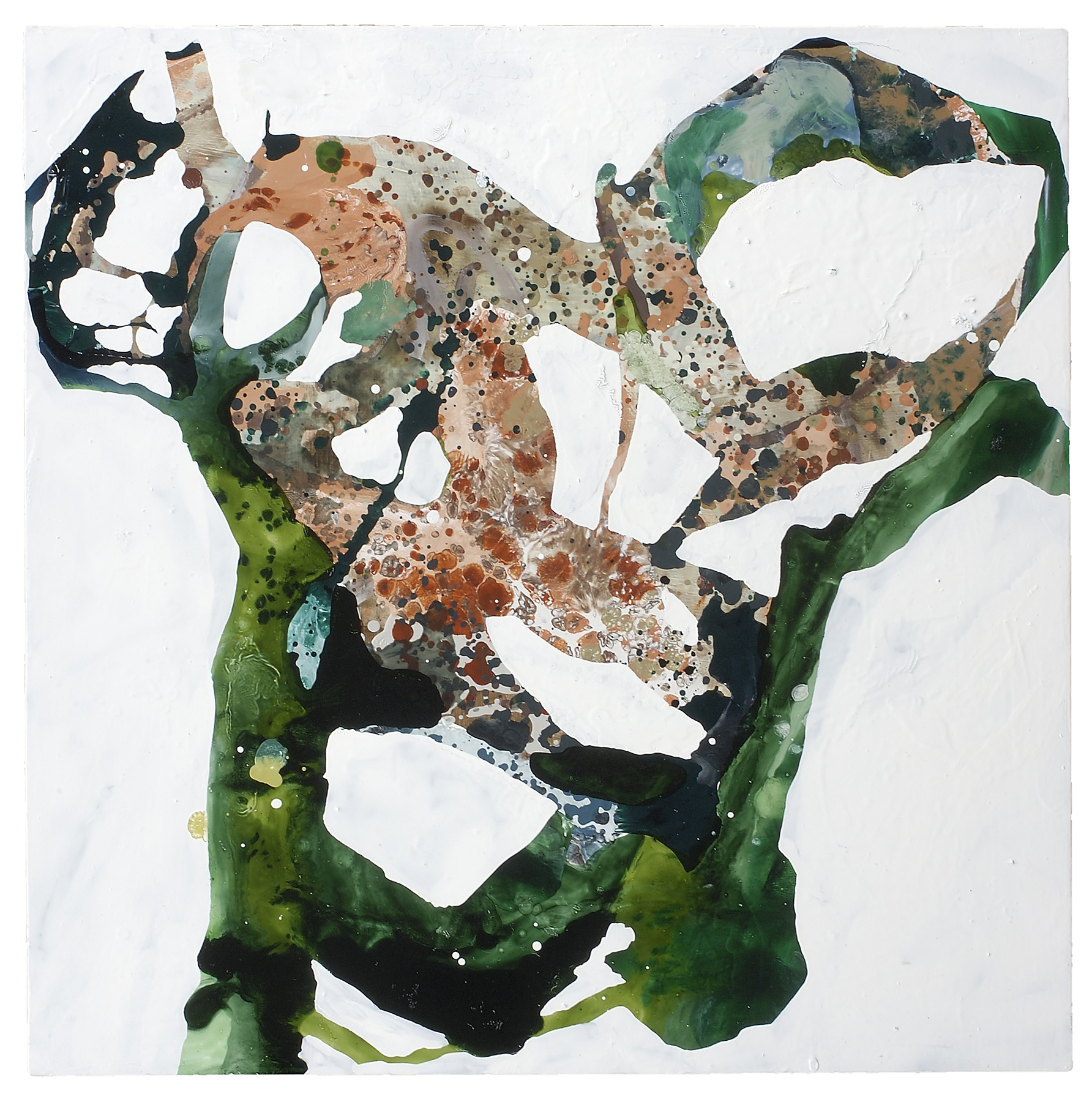 "Untitled (salmon/emerald), 2008, oil on panel, 30 x 30"""
