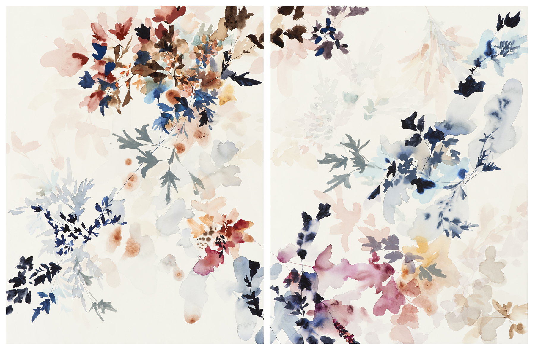 "Wildflower Study-11-1-A&B, 2017, mixed media on paper, 29 x 44"" (29 x 22"" each)"