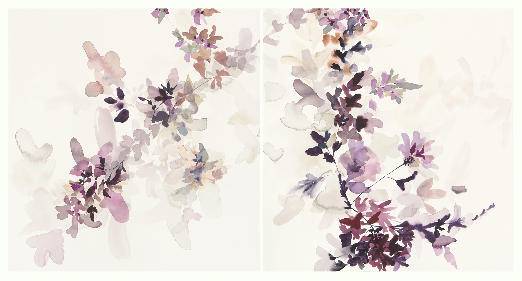 Wildflower Study - lilac and smoke - 1, 2018, mixed media on paper, 23 x 44 (23 x 22 each)""