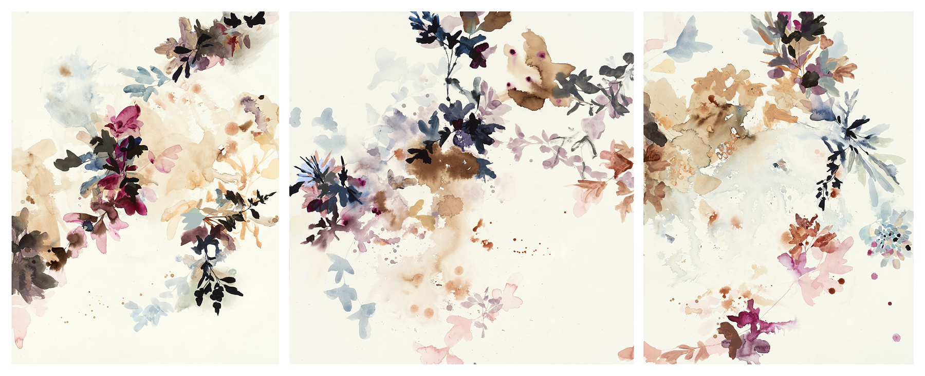Wildflower Study - deep purple, 2019, mixed media on paper, 29 x 72.5""