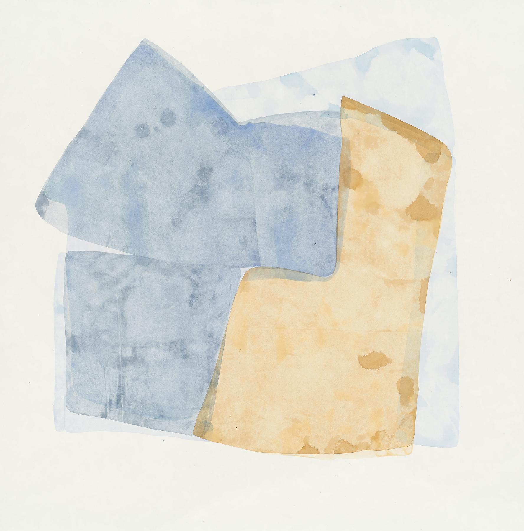 "Light Blue-1, 2019, mixed media on paper, 29 x 29"""