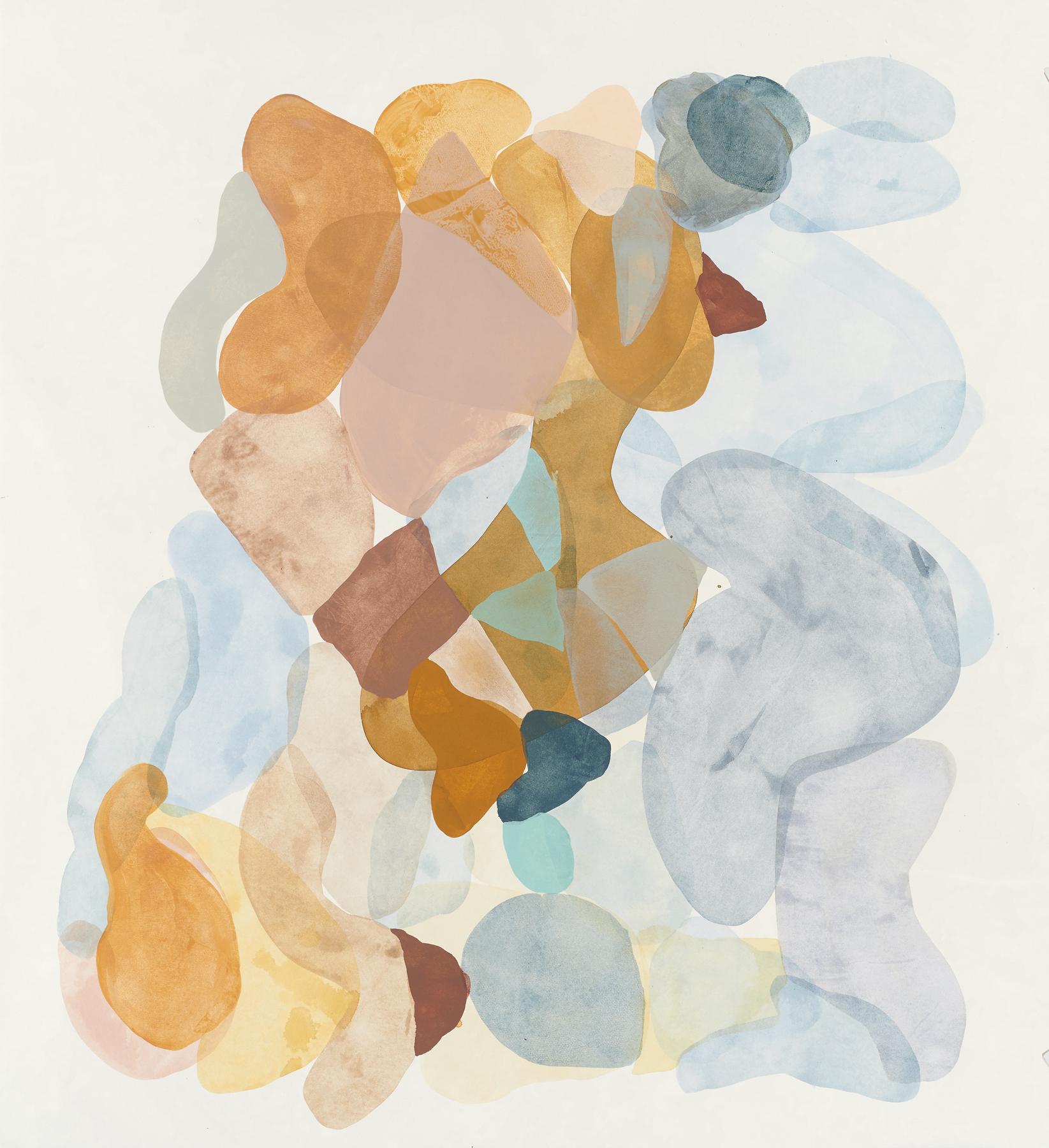 "Light Blue-3, 2019, mixed media on paper, 30 x 27"""