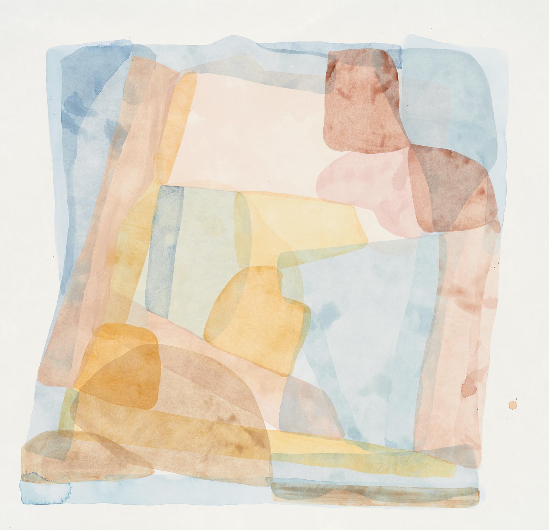 "Light Blue-2, 2019, mixed media on paper, 27 x 26"""