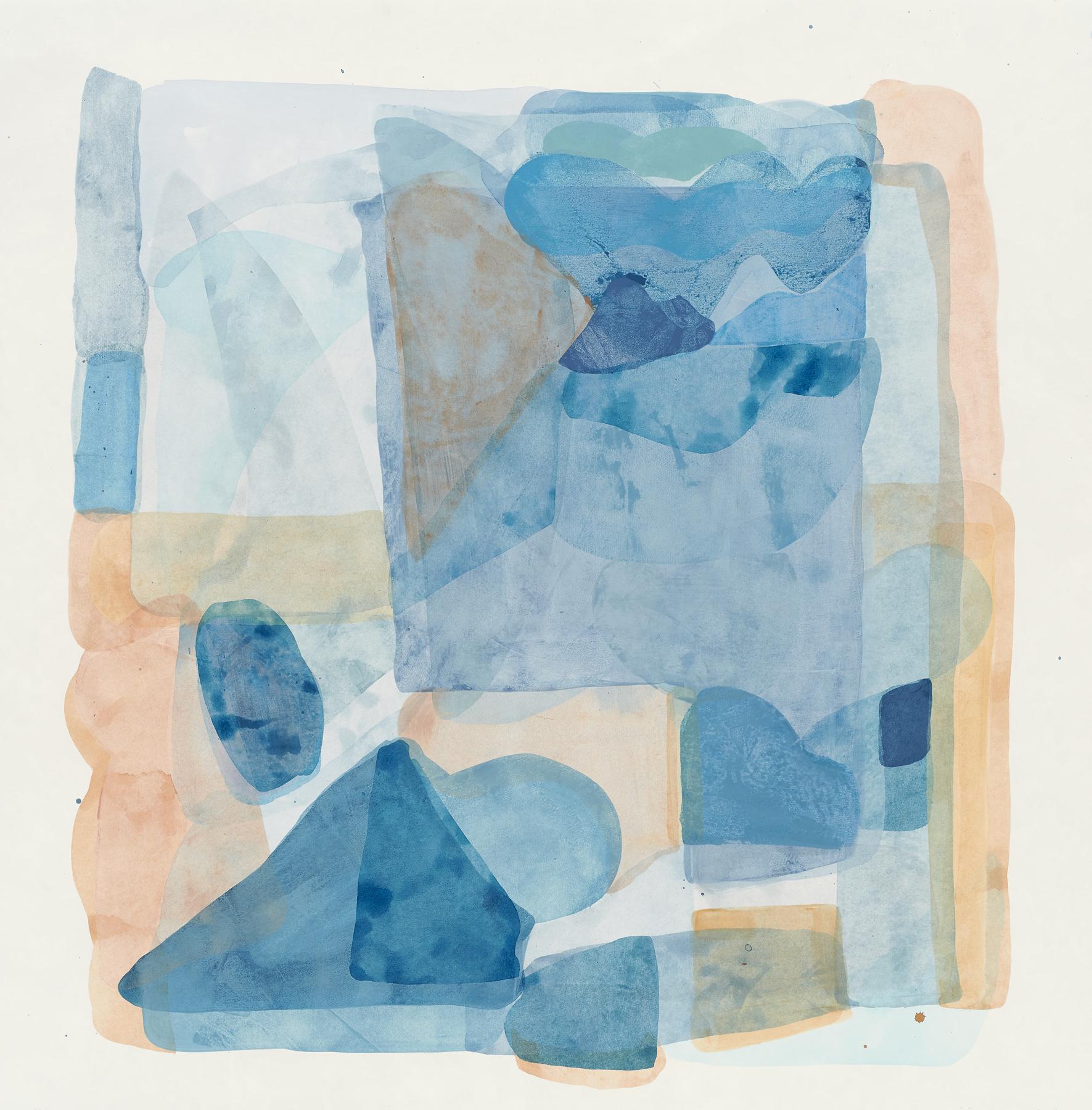 "Light Blue-5, 2019, mixed media on paper, 28.5 x 28"""